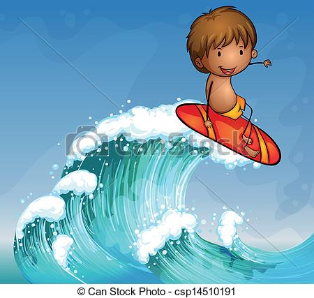 EPS Vectors of A boy surfing in the waves.
