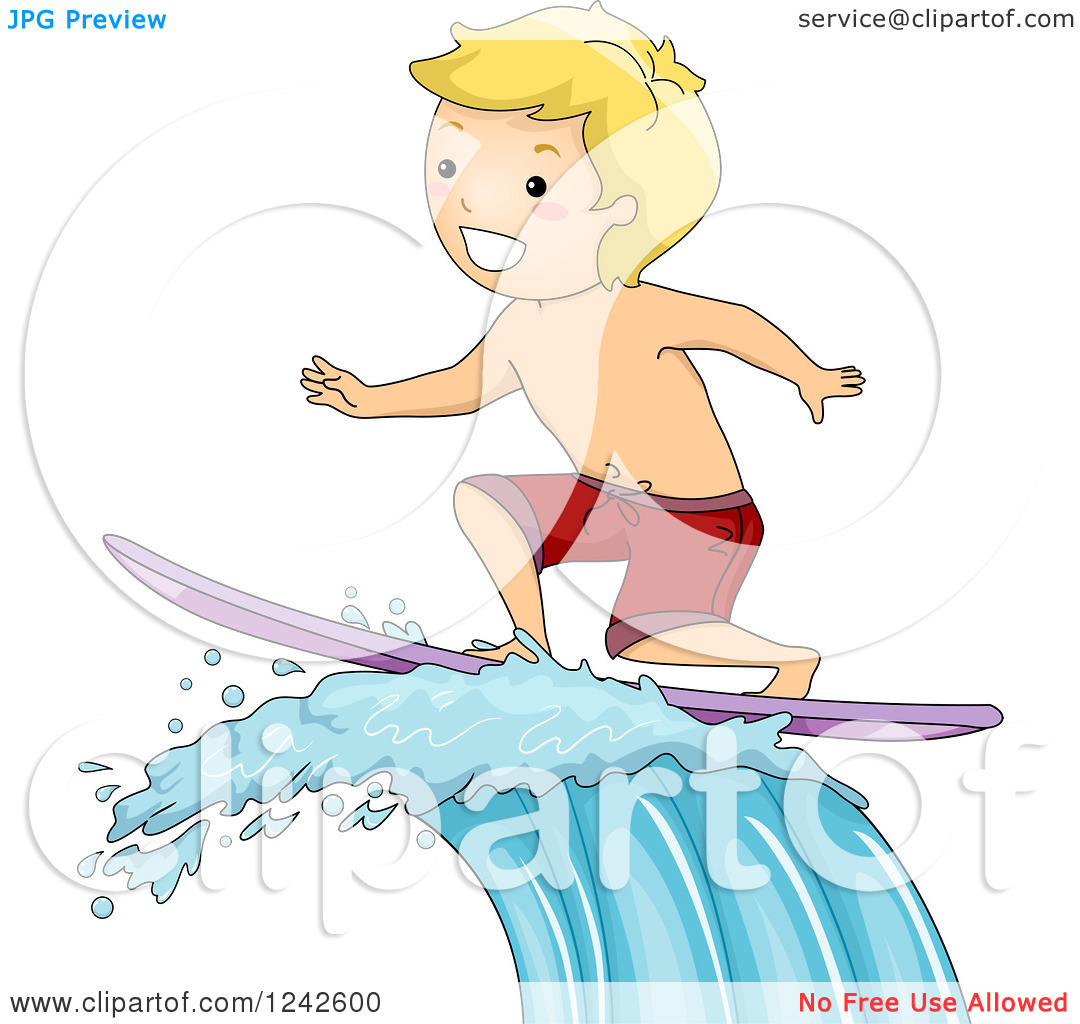 Clipart of a Blond Boy Surfing a Wave.