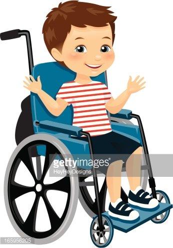 Cute Little Boy IN Wheelchair stock vectors.