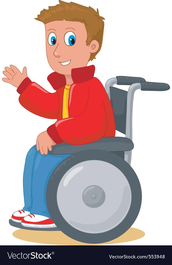 Boy on wheelchair.