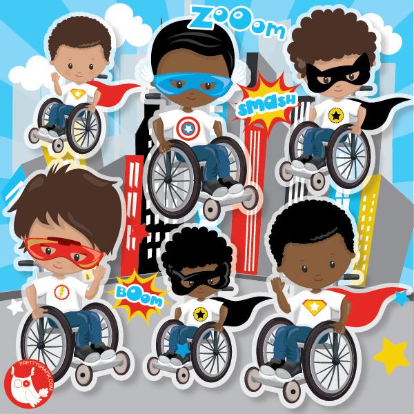 Superhero boys on wheelchair clipart.