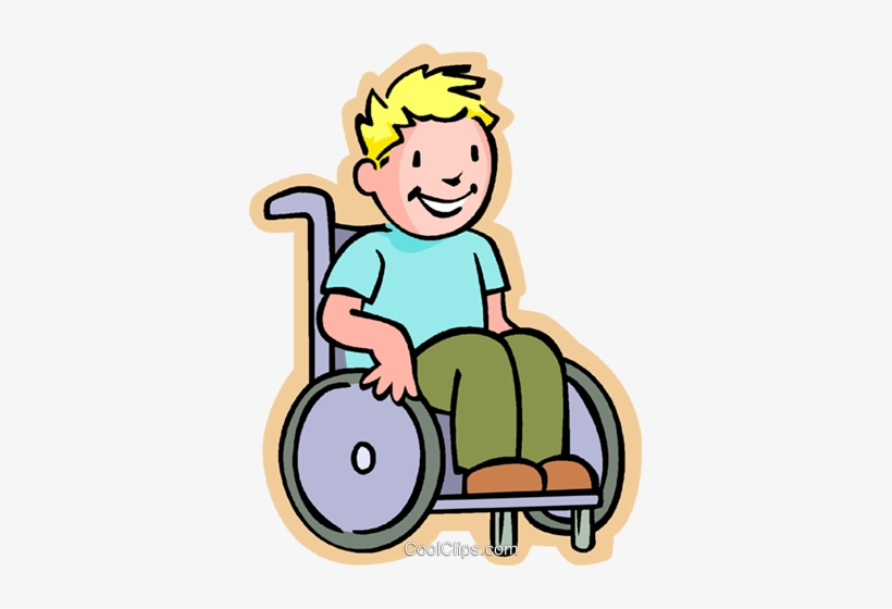 Little Boy In A Wheelchair Royalty Free Vector Clip.