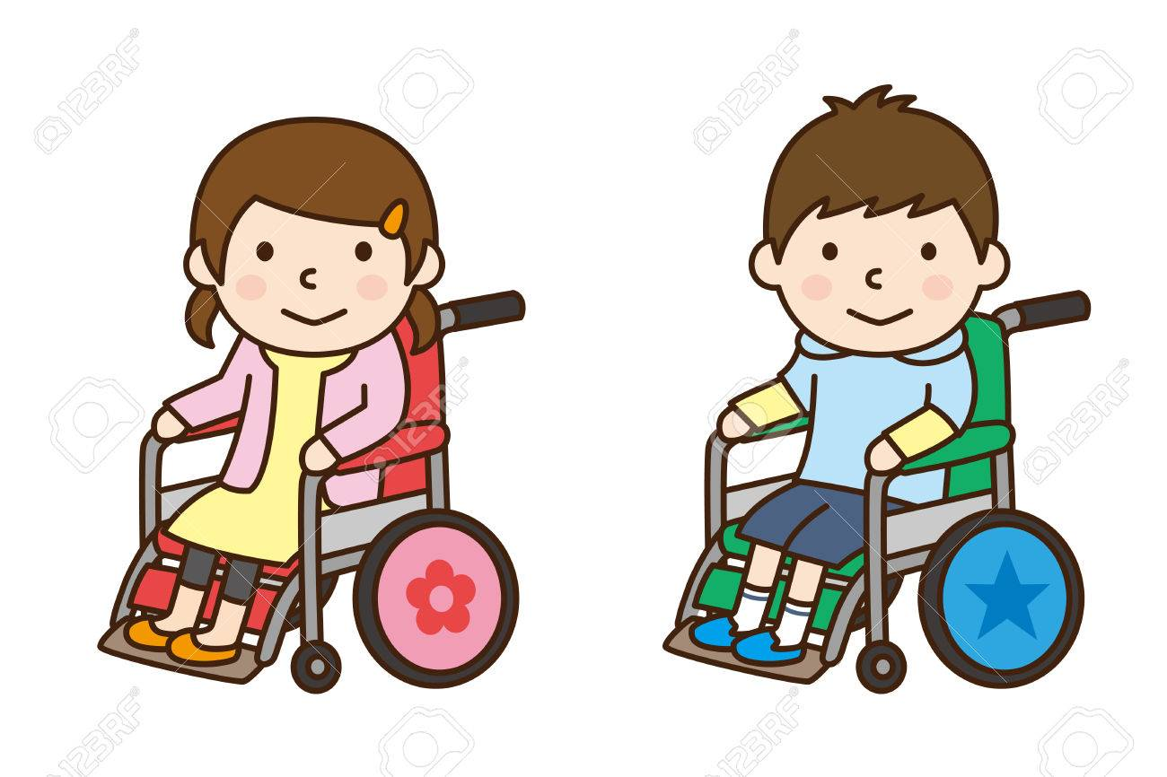 Boy and girl riding in wheelchair.