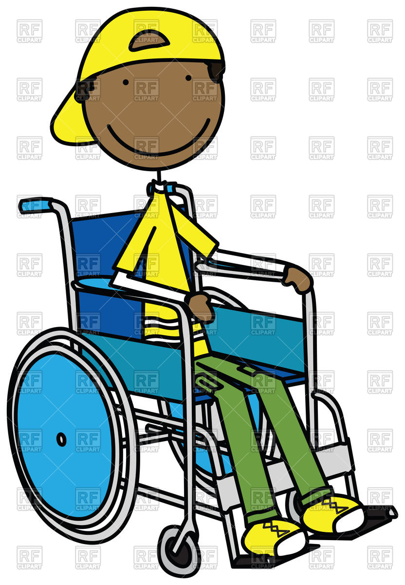 Cartoon smiling boy sitting in a wheelchair Stock Vector Image.