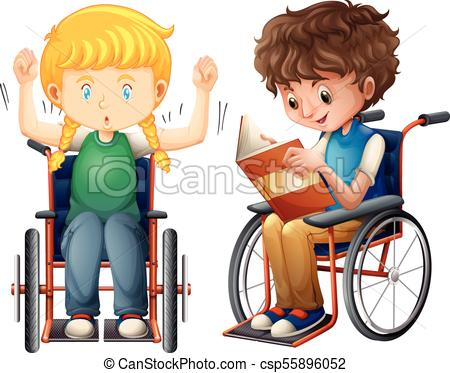 Girl and boy in wheelchair.