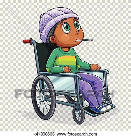 Sick boy on wheelchair Clipart.