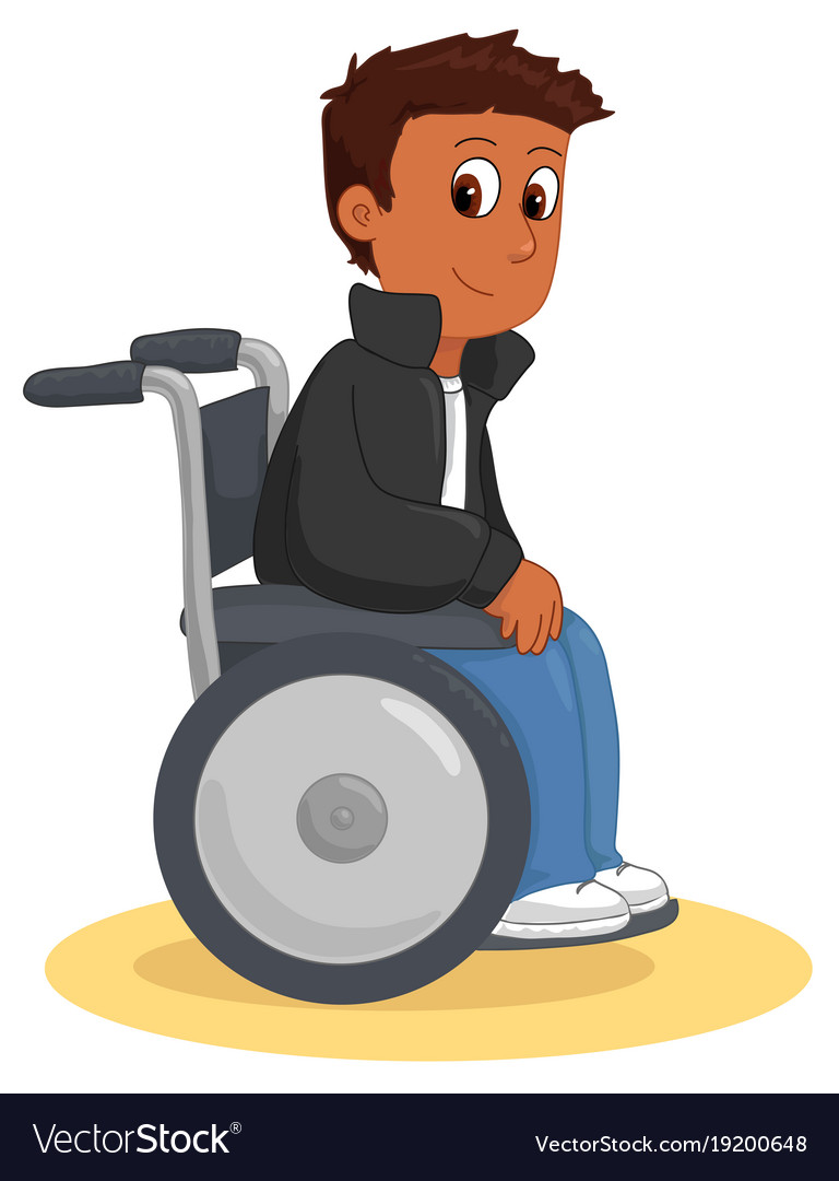 Cool happy wheelchair boy.