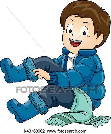 Kid Boy Winter Clothes Clipart.
