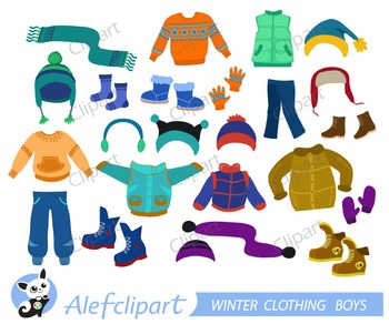 Winter Clothing Clipart Set for boys.