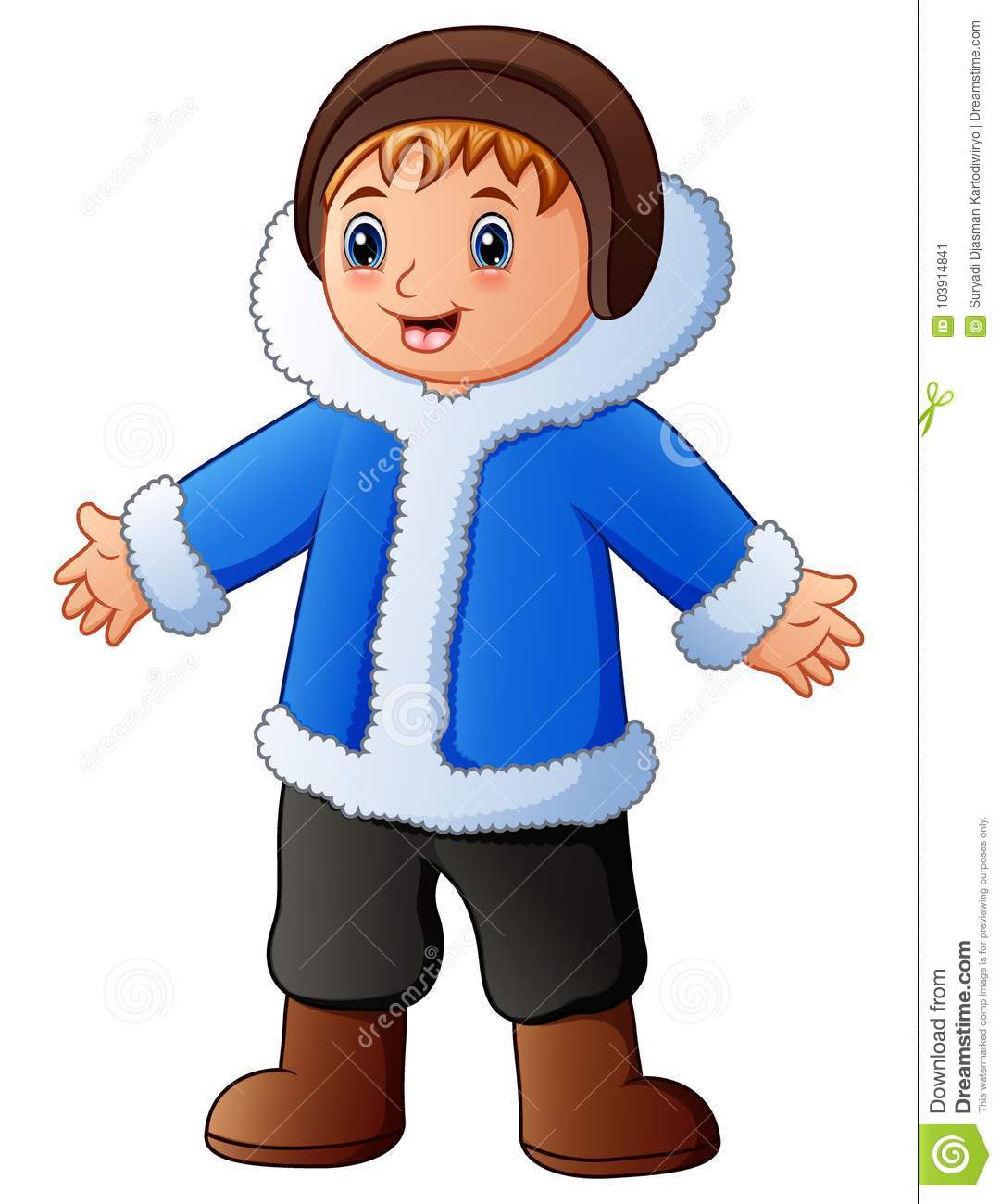 Happy Boy In Blue Winter Clothes Stock Vector.
