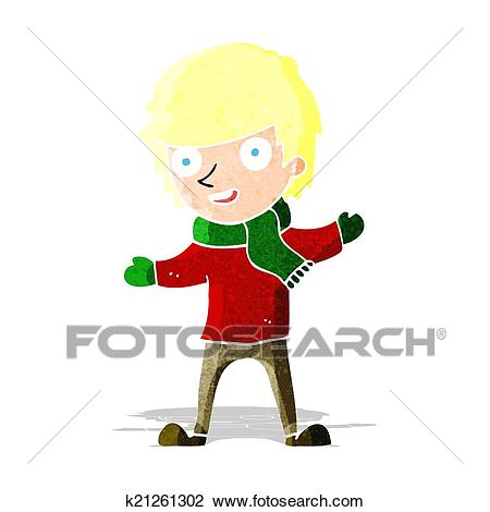 Cartoon boy in winter clothes Clipart.