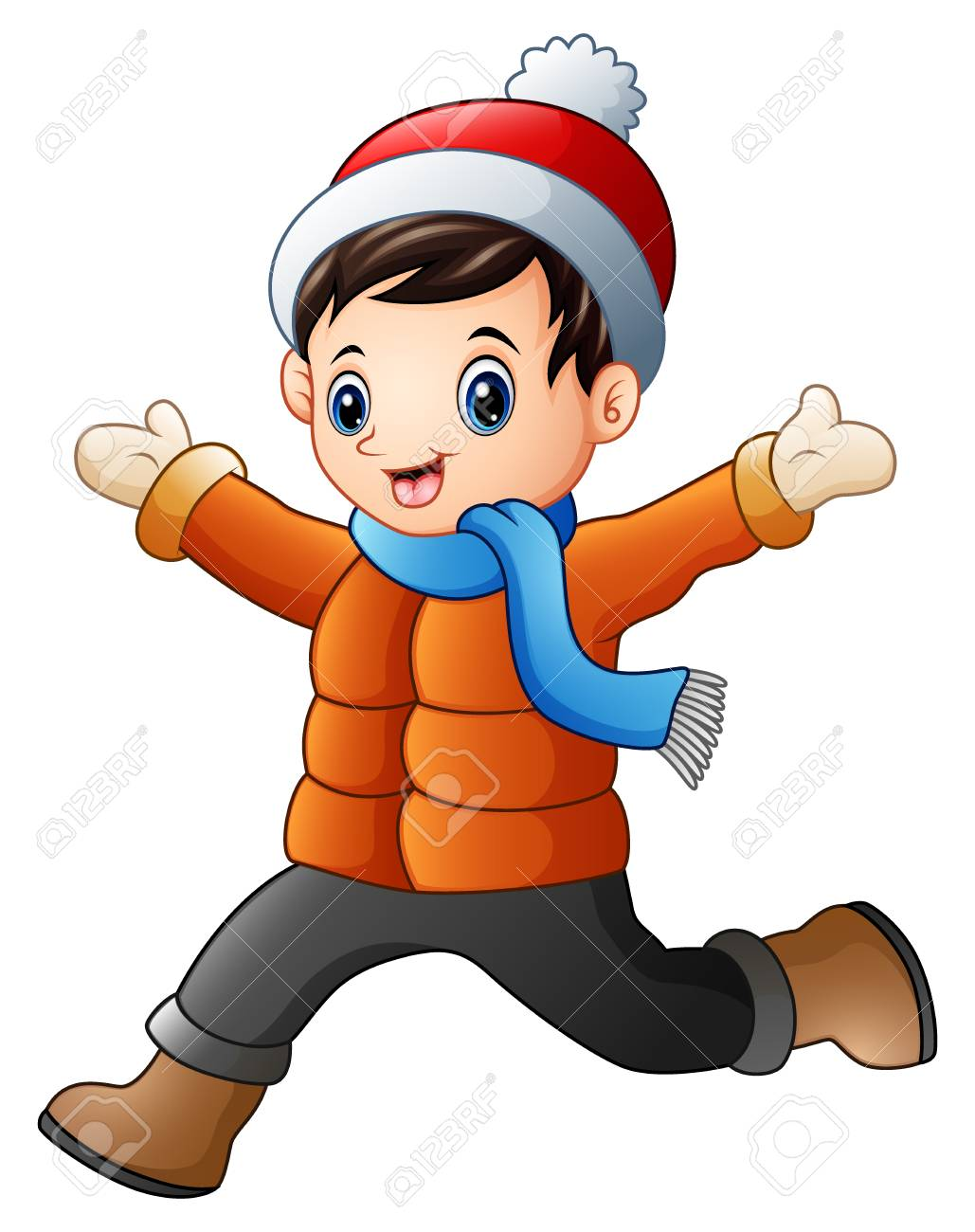 Vector illustration of Cartoon boy wearing winter clothes.