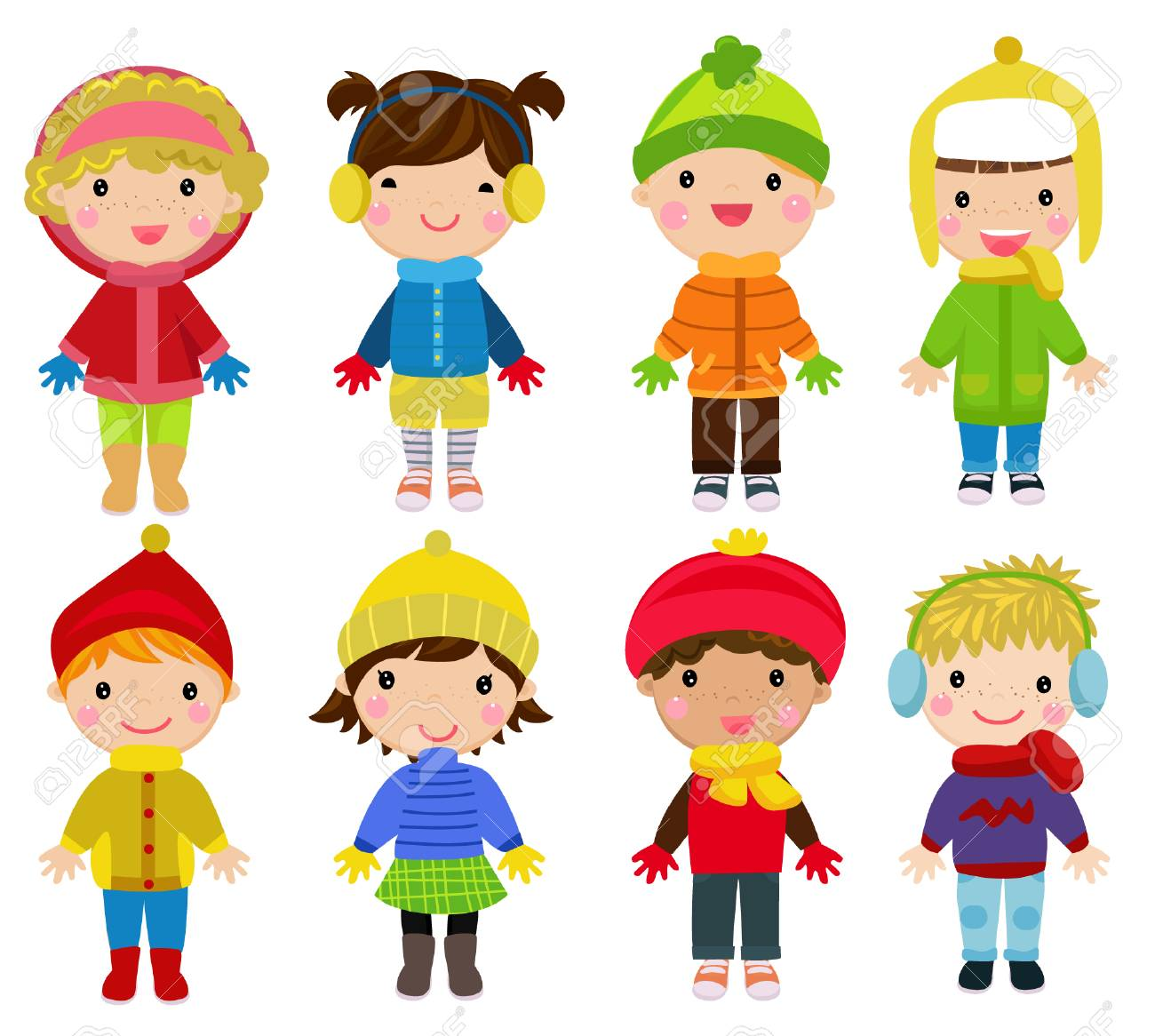 Illustration of Little kids wearing winter clothes.
