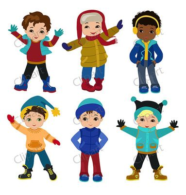 Boys winter clothing clipart set from Sandydigitalart on.