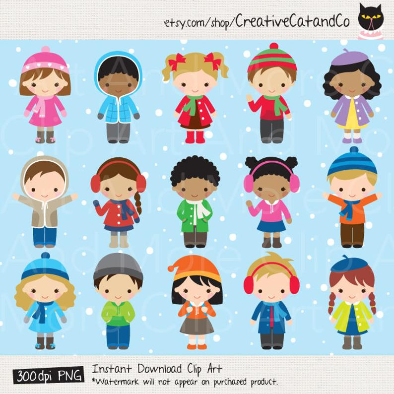 Winter Kid Clipart Winter Children Clipart African American Black Boy Girl  Kid Children Clipart Winter Dress Clothing Clipart Clip Art.