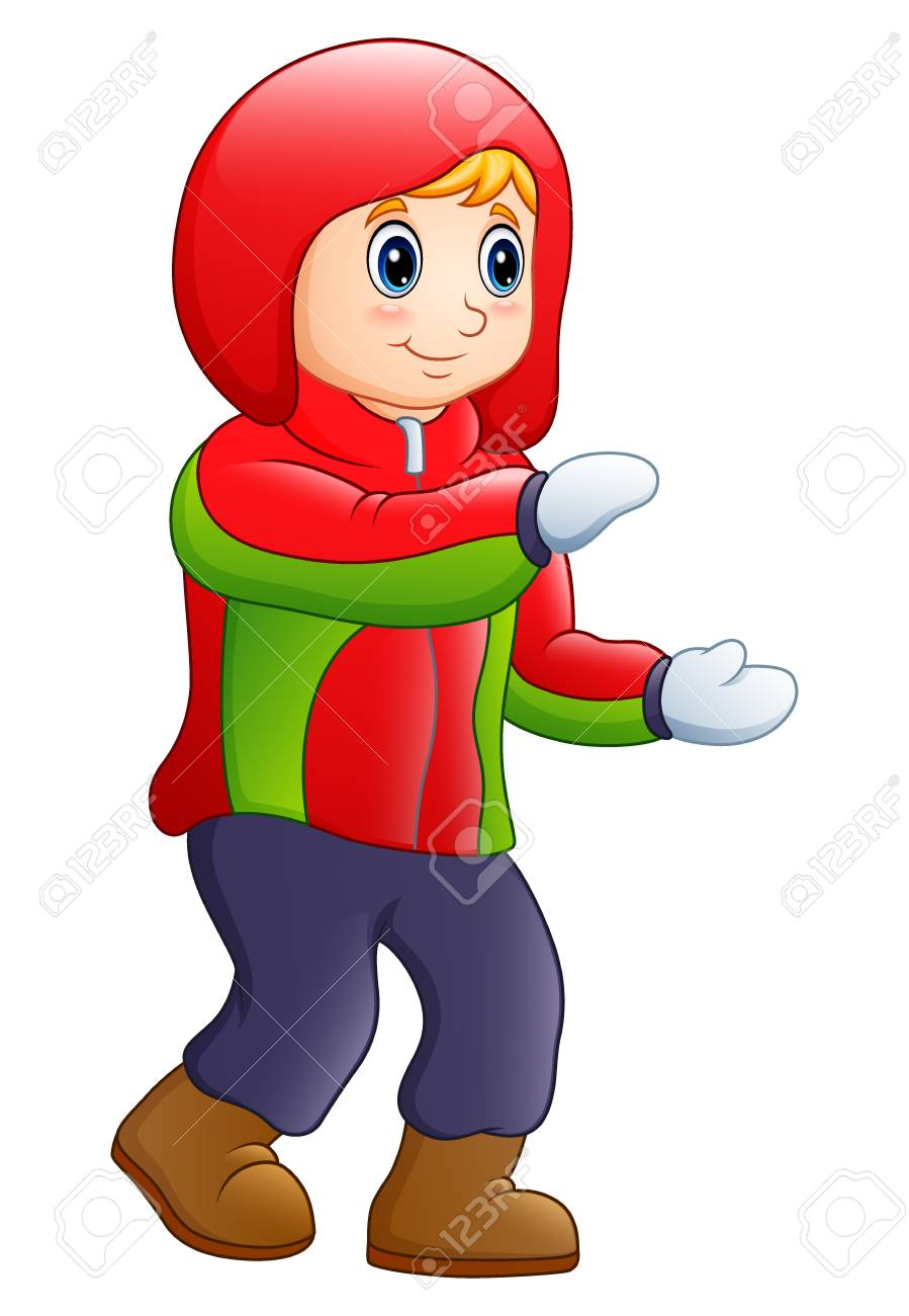 Vector illustration of a happy boy in winter clothes..