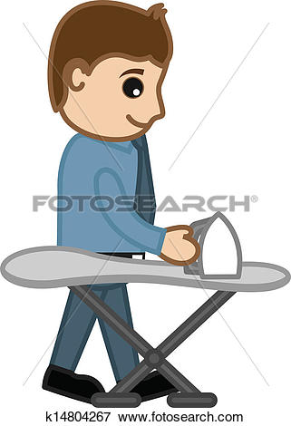 Clip Art of Boy Ironing the Clothes Vector k14804267.