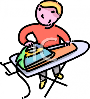Royalty Free Clip Art Image: Boy or Man Ironing His Own Laundry.
