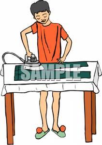 Boy Ironing Clipart.