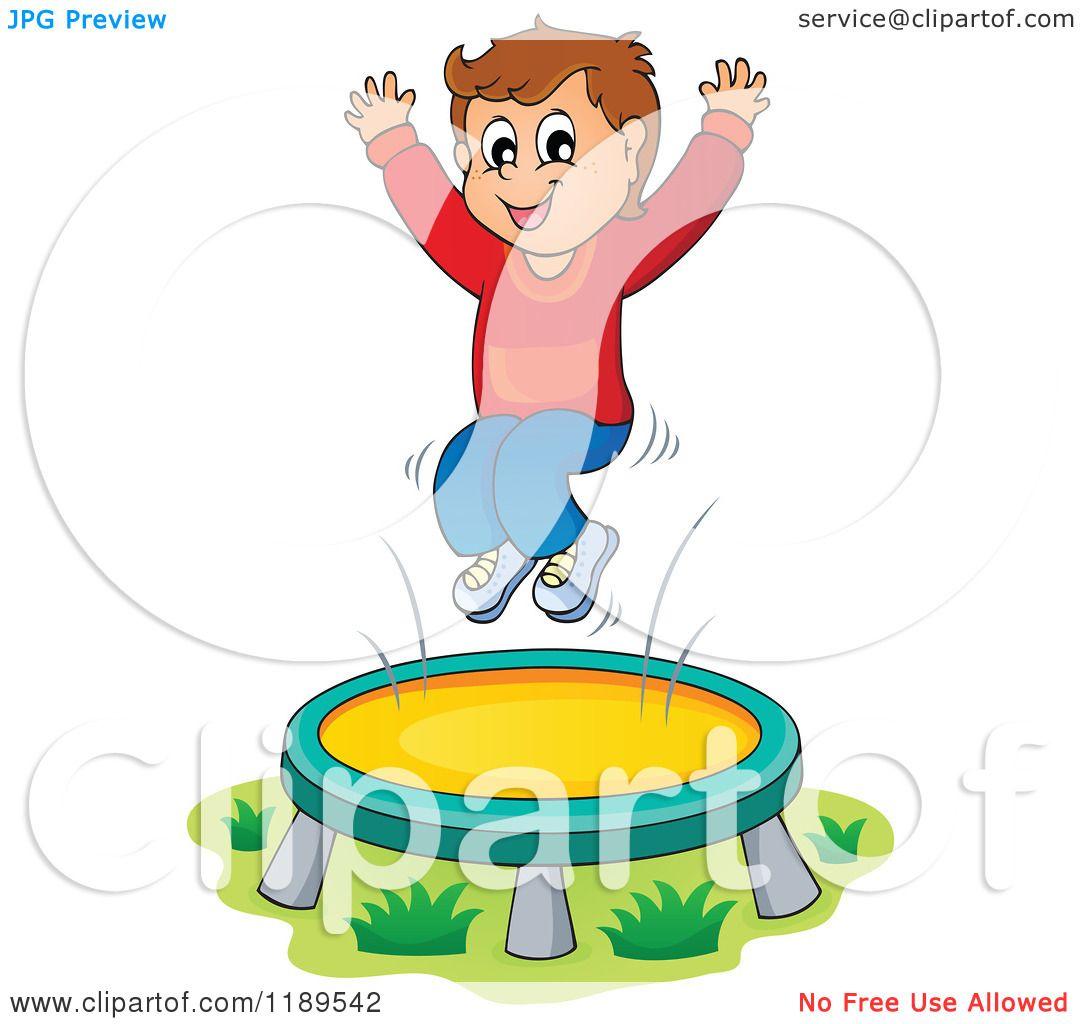 Cartoon of a Happy Boy Jumping on a Trampoline.