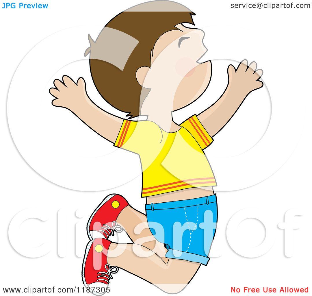 Cartoon of a Happy Brunette Boy Jumping.