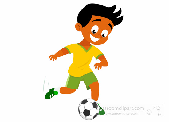 Boy Kicking Football Clipart.
