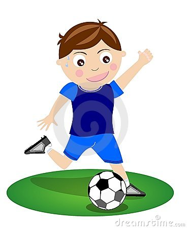 Boy Kicking Ball Clipart.
