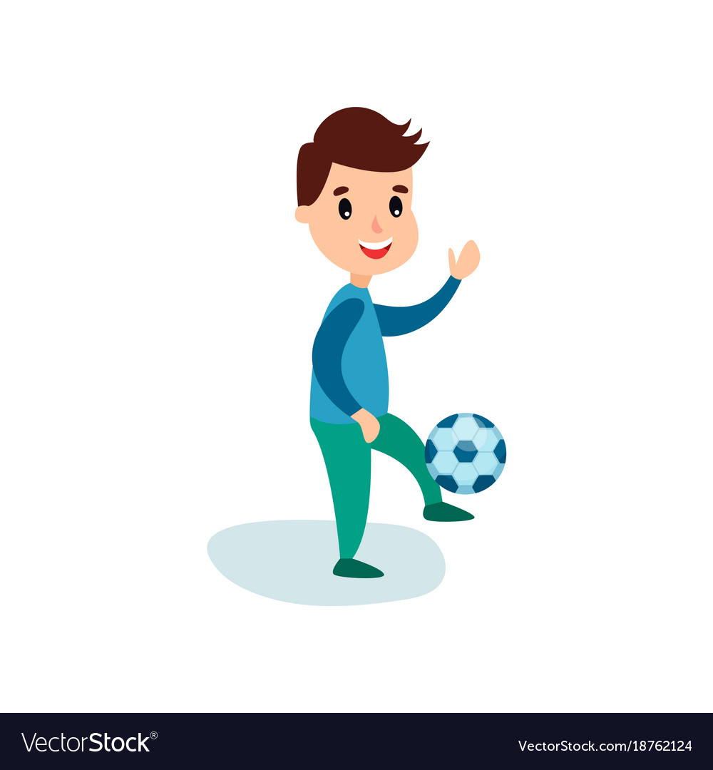 Smiling little boy character kicking soccer ball.