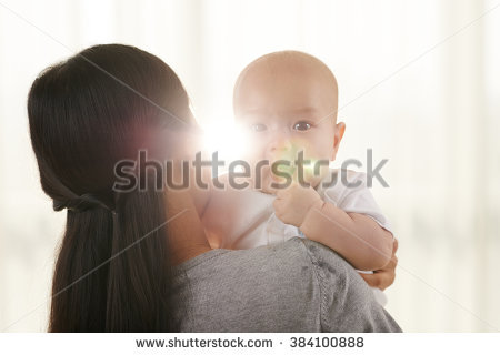 Mother Baby Child On White Bed Stock Photo 601406351.