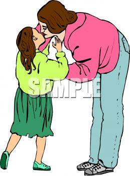 Royalty Free Clipart Image: Little Girl Kissing Her Mom.