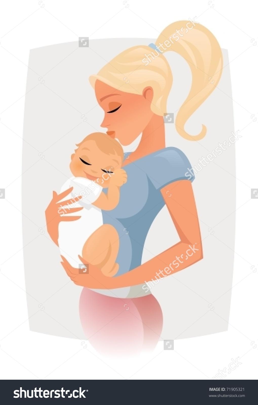 Mom Hugs Kiss Her Baby Stock Vector 71905321.