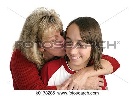 Stock Image of Mom Kisses Boy k0178285.