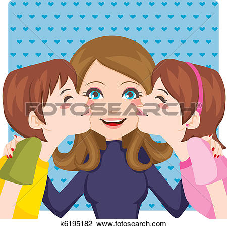 Clipart of Boy and girl kissing mom k13694284.
