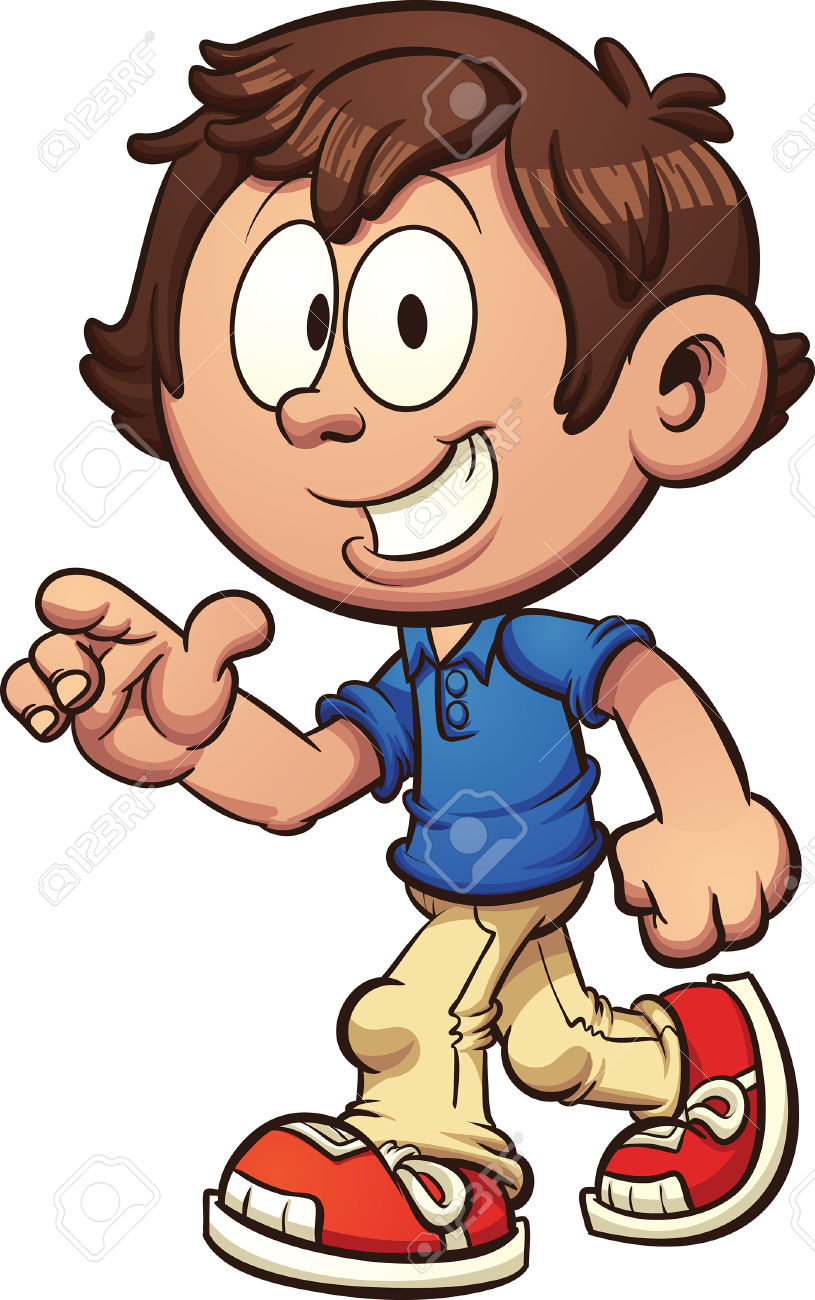 Cartoon Boy Walking And Pointing. Vector Clip Art Illustration.