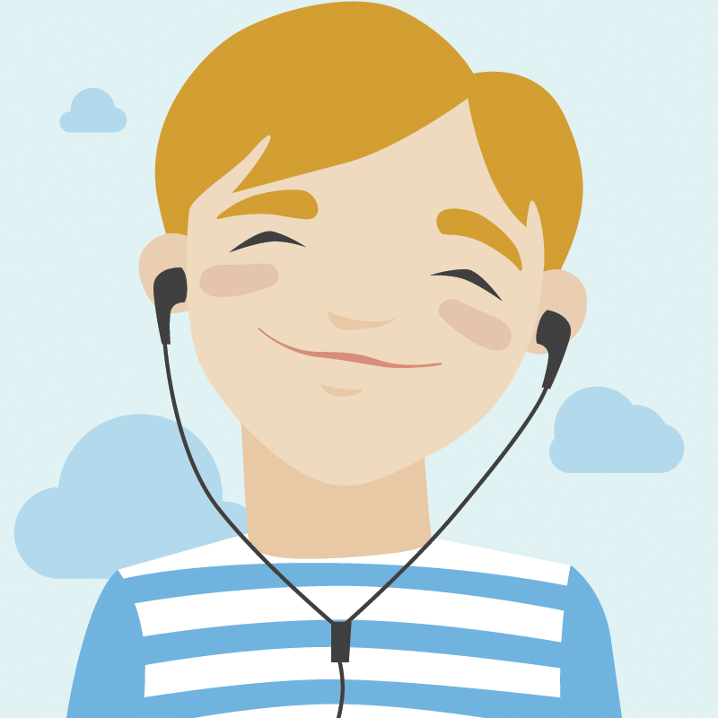 Joyful Boy Listening Music: Illustration.