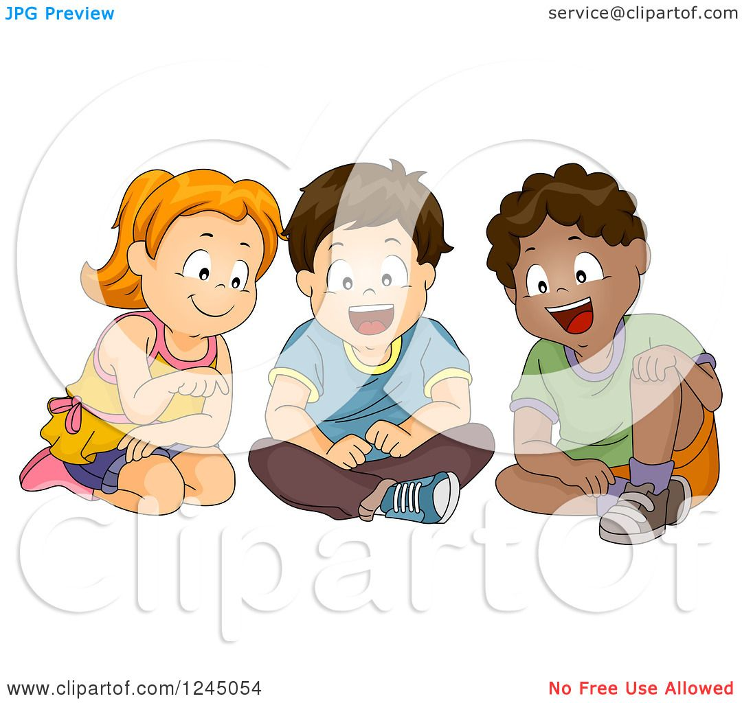 Clipart of a Girl and Boys Sitting and Looking at Something.
