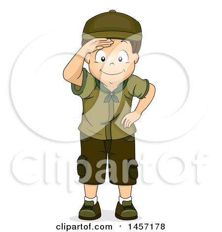 Clipart of a Happy Brunette Caucasian Scout Boy Shielding His Eyes.