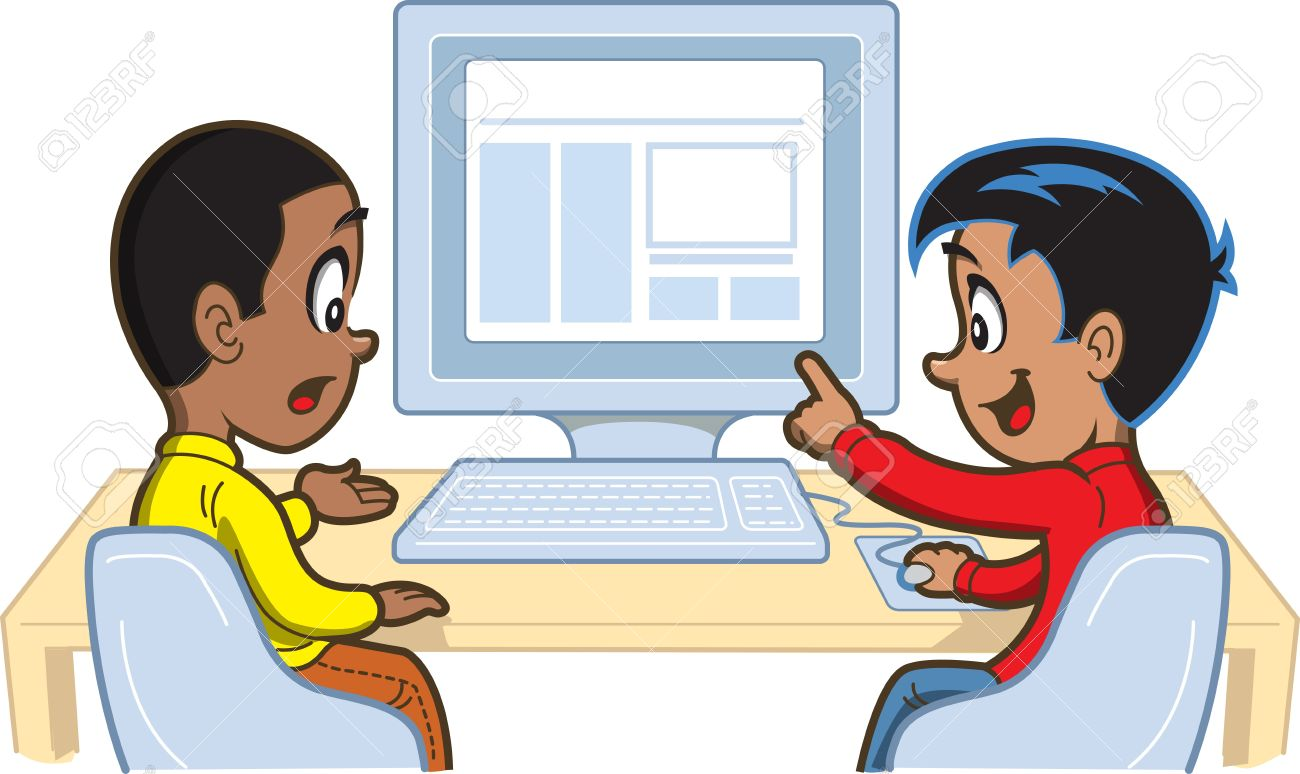Two Young Boys Looking At Something On A Computer Royalty Free.
