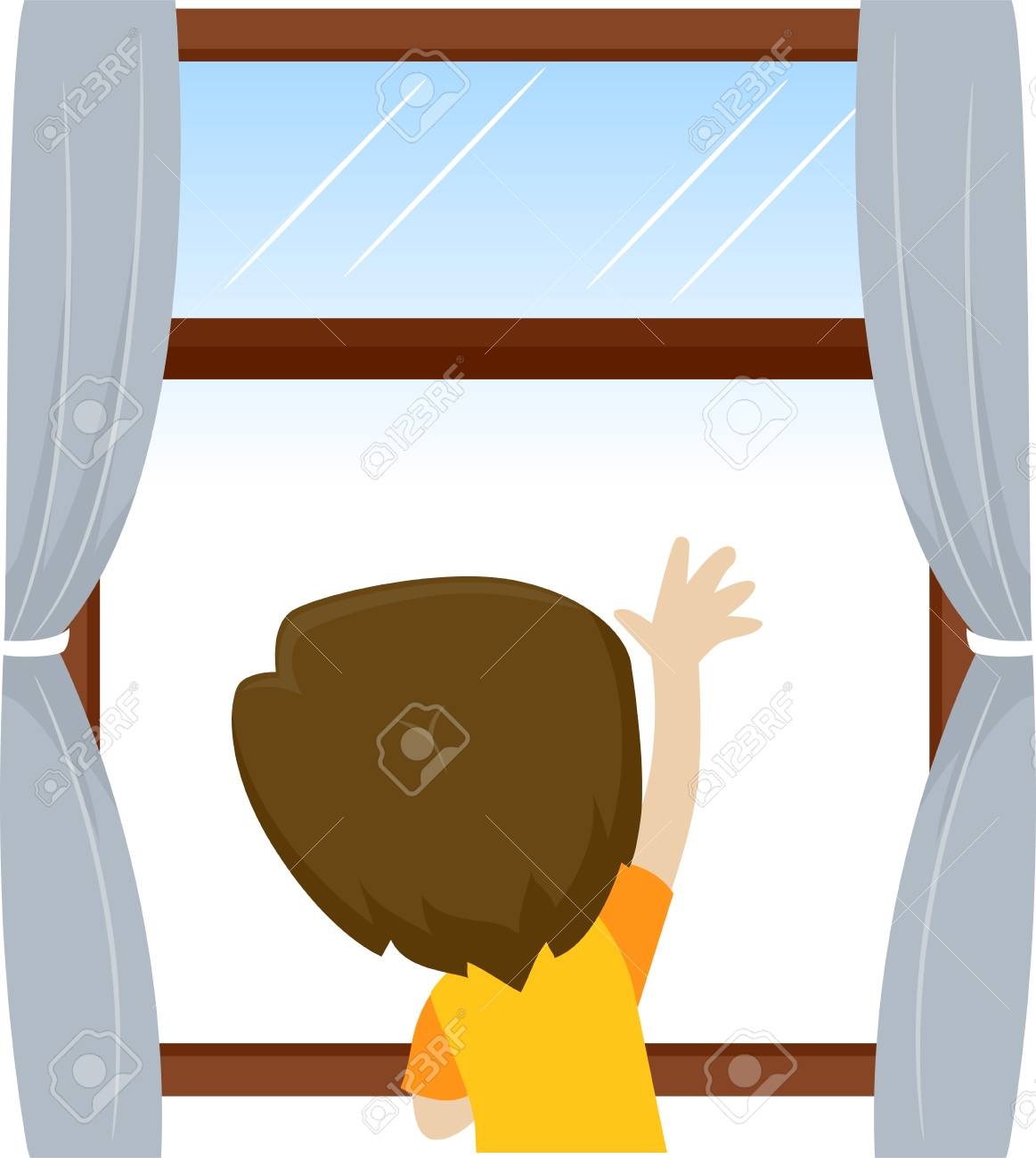 Vector Illustration of Little Kid Boy waving and looking outside...
