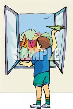 Royalty Free Clipart Image: Boy Throwing a Paper Airplane Out a Window.