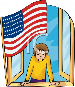 Clipart Picture of a Boy Looking Out a Window with an American Flag.