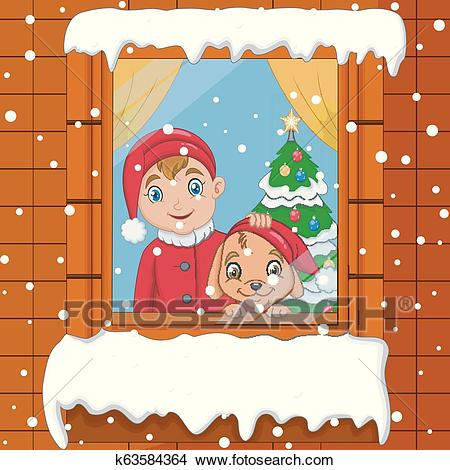 Little boy and dog looks out the window on falling snow Clipart.