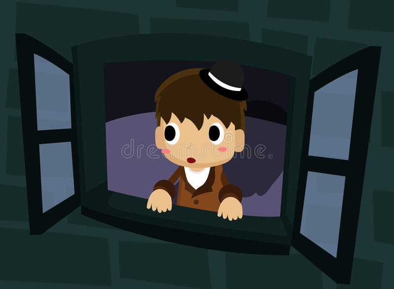 Cartoon Boy Looking Out Window Stock Illustrations.
