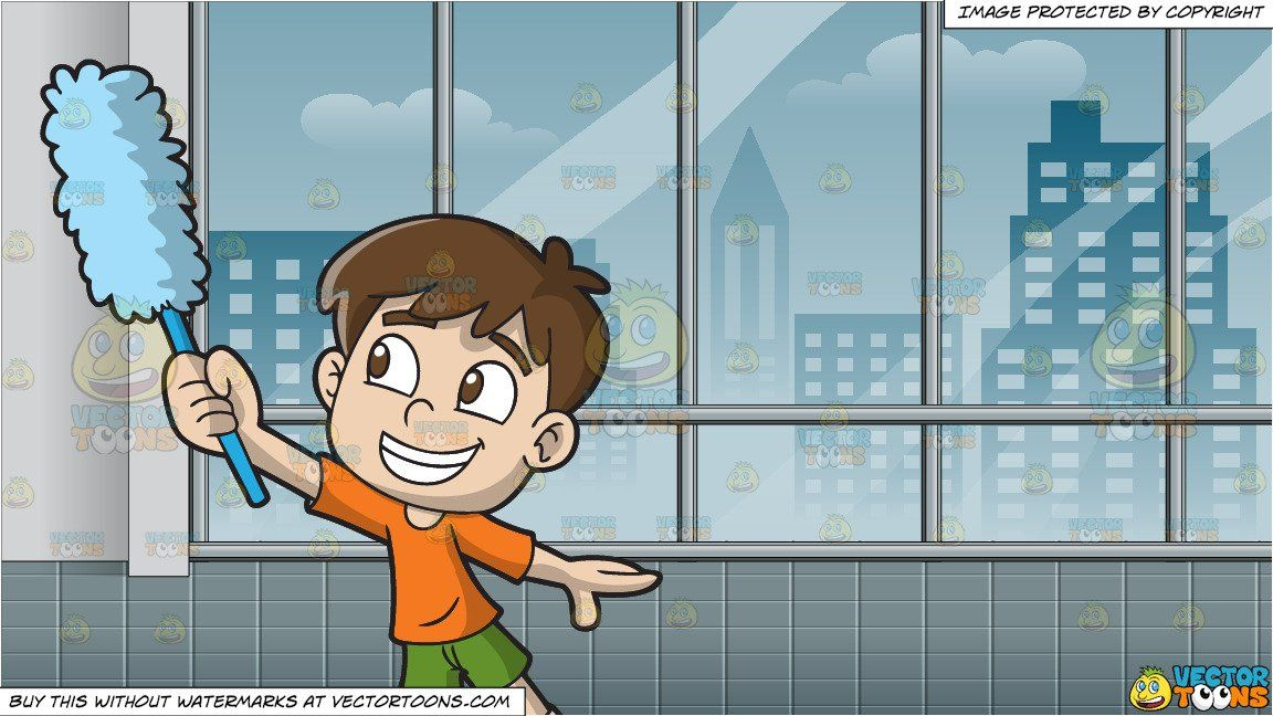 clipart #cartoon A Boy Dusting The Walls and Inside A Room With.