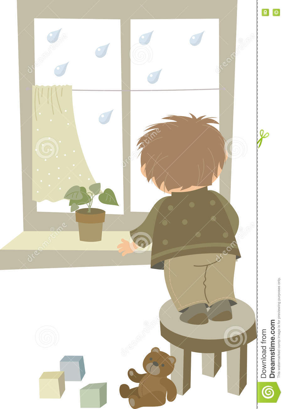 Boy looks out the window stock vector. Illustration of raindrops.