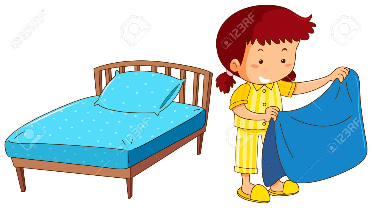 Child Making Bed Clipart.
