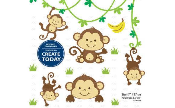 Boy Monkey Clip Art Monkey Print Set.