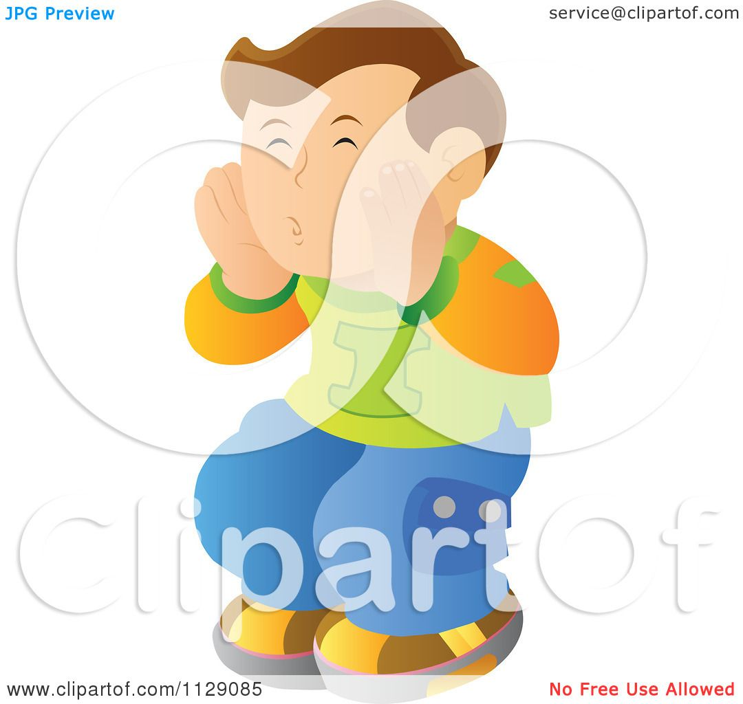 Cartoon Of A Boy Covering His Mouth And Hollering.