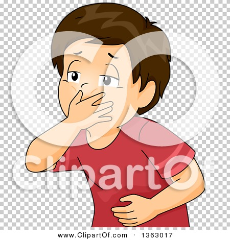 Clipart of a Sick Brunette White Boy Covering His Mouth, About to.