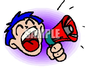 Royalty Free Clip Art Image: Boy or man with big mouth making.